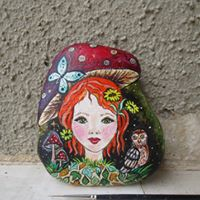 portrait fairy painted rock Danijela Milosevic art Greece Christine Onward Australia