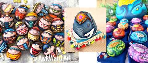 awkward art painted rocks Australia blog Queensland blog Christine Onward