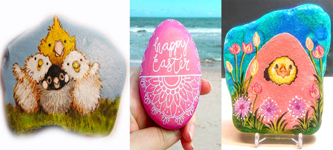 collage painted rocks colourful easter blog Christine Onward Australia