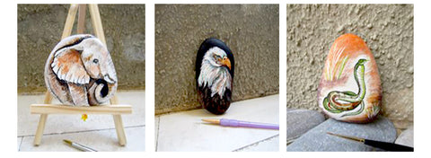 animals elephant eagle snake painted rocks Danijela Milosevic art blog rock street