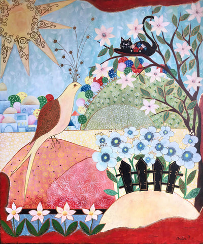 painting canvas Christine Onward naive art for sale Australia blog outback sydney