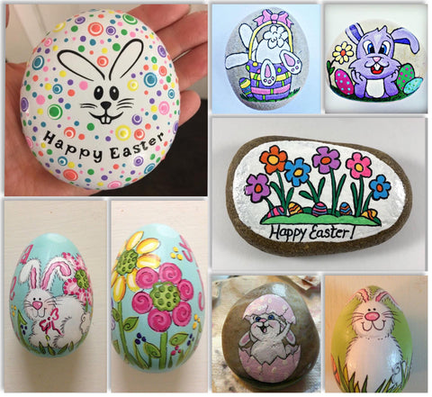 Easter painted rocks Pinterest Christine Onward wednesday art blog