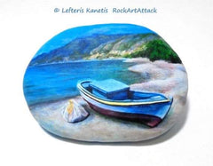 Rock art boats painting Christine Onward Australian gallery blog home decoration craft diy idea Greece