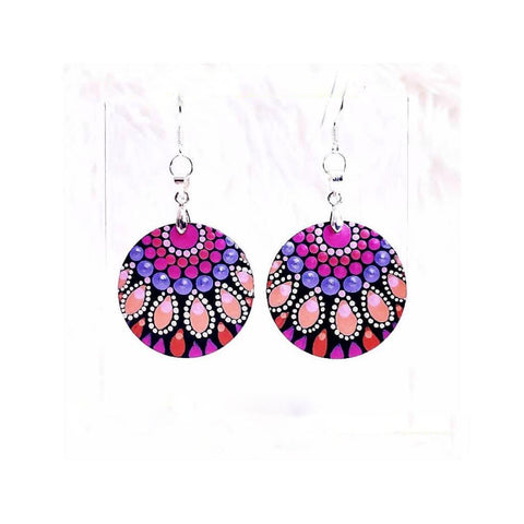 earrings dot painting handmade jewelry mandala Corrina Marie Canning art blog Australia Christine Onward