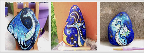 dragons painted rocks art blog rock street by Christine Onward