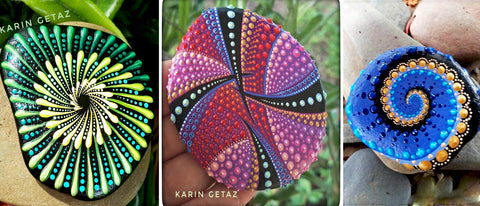 painted rocks Karin Getaz art rock Street blog Christine Onward