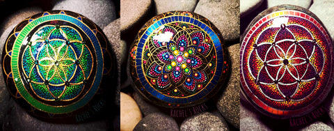 painted rocks manadala golden art resin Rachel Mitchell Canada zen home decoration art blog Christine Onward