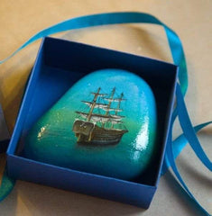 Miniature painting boat art rock gallery old bar blog gift style Christine Onward Australia decoration