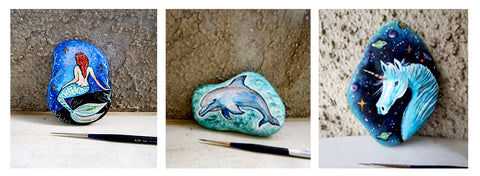 Blue ocean Mediterranean painted rocks Danijela Milosevic art online Christine Onward blog Australia