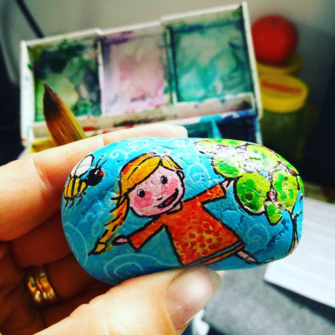 girl children toy gift happy naive art online painting stone Sussi Louise Christine Onward blog