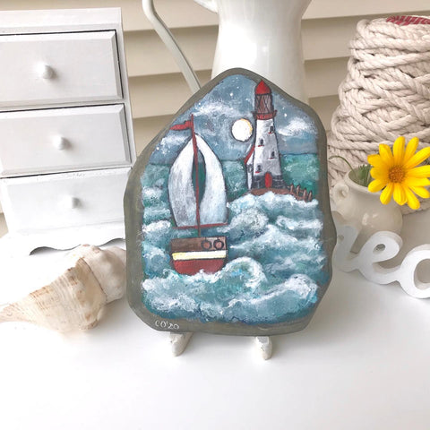 boat art painted rock folk naive beach house decoration blog Christine Onward simple coastal decor