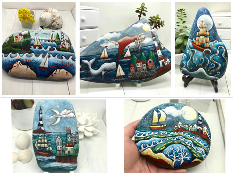 Rock painting boats Christine Christine Australia art blog gallery old bar home decoration