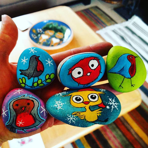 painted rocks owls birds art Sussi Louise Ilkley UK art online blog Christine Onward naive children fun