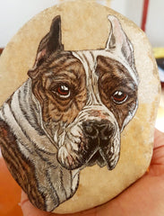 painted rock beautiful dog art by Tunde Fodor