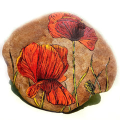 painted rocks flower happy home decoration artist Tunde Fodor