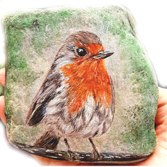 painted rock bird Hungarian artist Tunde Fodor