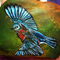 painted rock bird happy home decorations