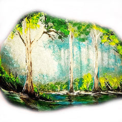 landscape forest painted rock