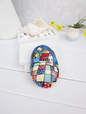 painted rock folk art interior decoration by Christine Onward
