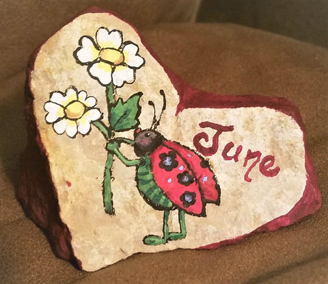 love heart painted rock flowers garden decoration ladybug love romance