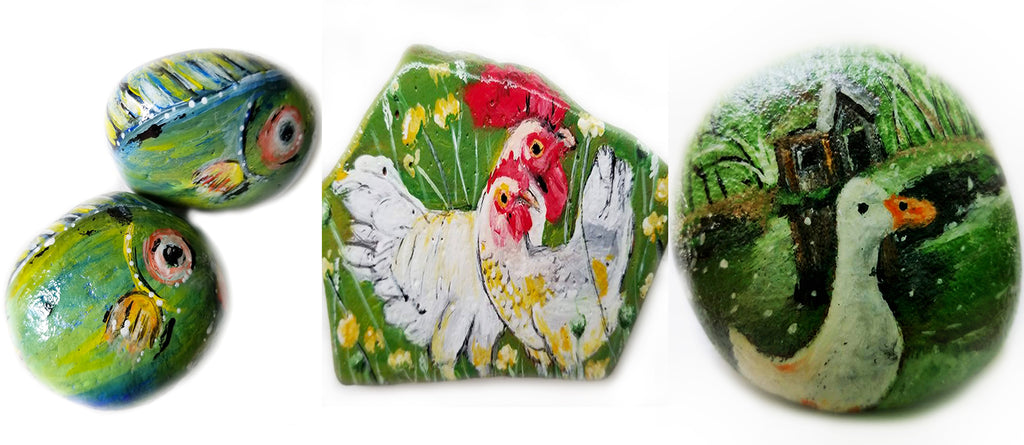 painted rocks fish chickens duck Pamela Campbell happy home decorations