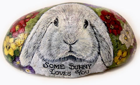 Rabbit Easter painted rocks america stone Christine Onward art blogger