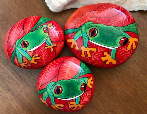 frogs red garden decoration painted rocks happy children