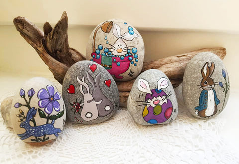 display Easter rocks bunnies Lidia Zingerle Christine Onward art blog Wednesday SNAPSHOT