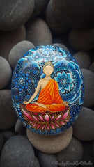 painted rock blue dot art happy meditation buddha decoration lisa orlans