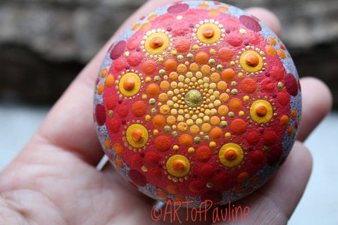 painted rock red mandala rockstreet collective