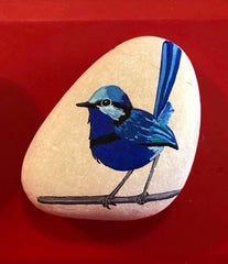 painted rock blue bird happy home decoration aberline atwood