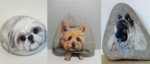 dogs painted rocks Yvette Biedermann Switzerland beautiful cute Christine Onward art blog Australia