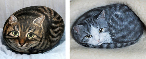 painted rocks cats Yvette Biedermann happy stones switzerland Christine Onward art blog