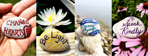 Showcase painted rocks by artist Bethany Kirwen