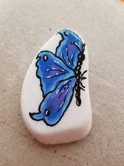 painted rock blue butterfly happy home decoration diana lamb