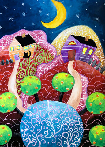 gouache painting surreal night stars art painted by Christine Onward