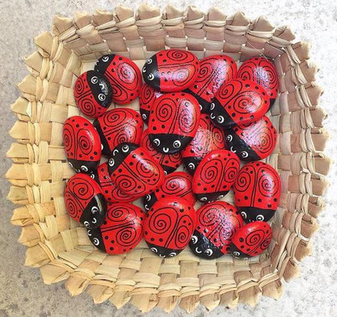 ladybirds painted rocks red garden decorations basket happy decor