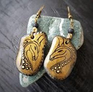 earrings jewelry painted rock stone art beautiful Italy Annalisa Cacciatore