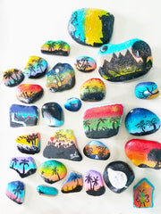 painted rocks beach themes students in Honduras