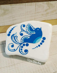 painted rock blue bird happy home decoration Misty Day