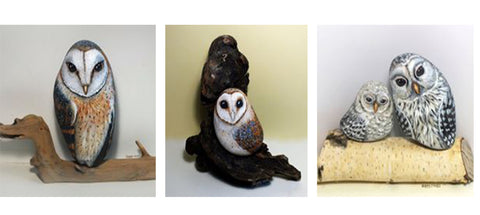 owls painted rock beautiful original wood stand wall decoration Yvette Biedermann