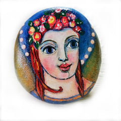 art naif painted rock angel by Pamela Campbell