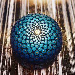 painted rock blue mandala mindfulness rachel mitchell