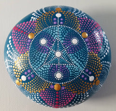 painted rock dot art mandala blue happy home decoration sandra silva