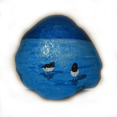 painted rock ocean seagulls blue art decoration Sussane Jensen