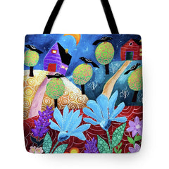 tote bag original art night black birds christine onward