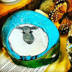 naive art painted rock by Sussi Louise UK
