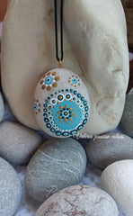 painted rock necklace mandala dots blue wearable art Valeria Avossa
