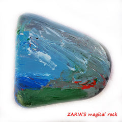 children's art beach painted rock Zaria
