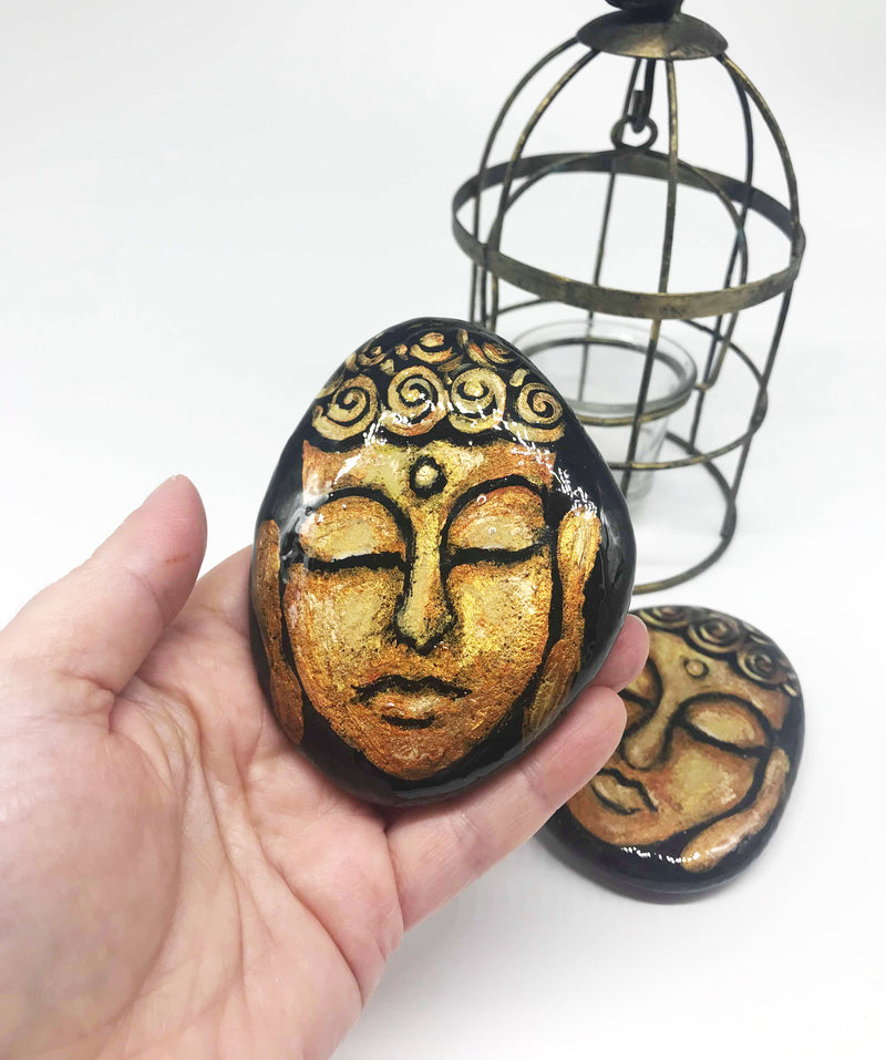 Golden Buddha keepsake - hand painted rock gold leaf art decoration one of a kind FREE POSTAGE